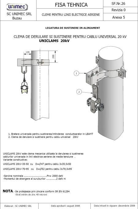 legatura de isustinere  in aliniament cablu universal MT