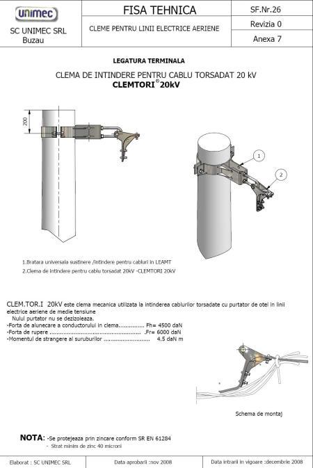 legatura terminala realizata cu CLEMTORI pe  cablu torsadat 20 kV