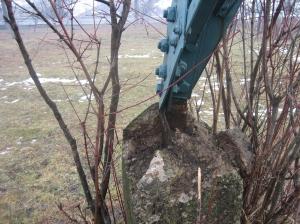 Montant de fundatie stalp 110 kV deformat