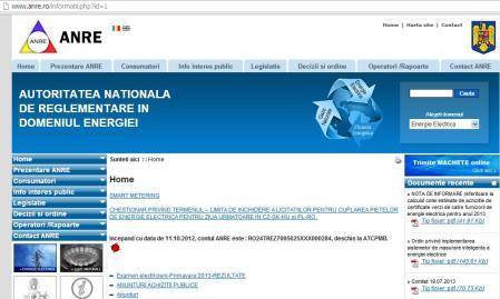 Pagina de web ANRE la 22.07.2013