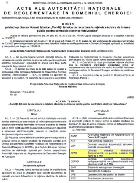 Prag dispecerizare CEF conform Ordinului ANRE 30 din 2013