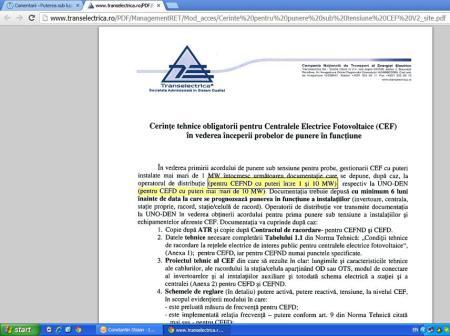 Prag dispecerizare CEF conform  stie Transelectrica
